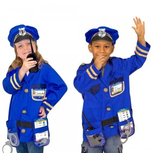 Black Friday 2020 - Melissa & Doug Police Officer Role Play Costume Dress-Up Set (8pc), Adult Unisex, Size: Small, Red/Gold