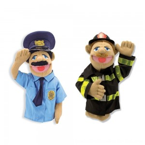 Black Friday 2020 - Melissa & Doug Rescue Puppet Set - Police Officer and Firefighter