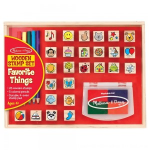 Black Friday 2020 - Melissa & Doug Wooden Stamp Set, Favorite Things - 26 Wooden Stamps, 4-Color Stamp Pad