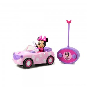 "Black Friday 2020 - Jada Toys Disney Junior RC Minnie Bowtique Roadster Remote Control Vehicle 7"" Pink with White Polka Dots"