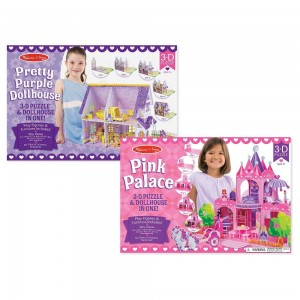 Black Friday 2020 - Melissa And Doug Pretty Purple Dollhouse And Pink Palace 3D Puzzle 200pc