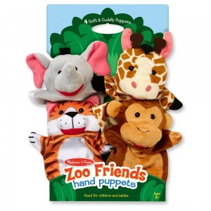 Black Friday 2020 - Melissa & Doug Zoo Friends Hand Puppets (Set of 4) - Elephant, Giraffe, Tiger, and Monkey