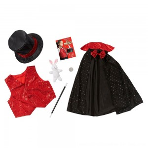 Black Friday 2020 - Melissa & Doug Magician Role Play Costume Set - Includes Hat, Cape, Wand, Magic Tricks, Adult Unisex