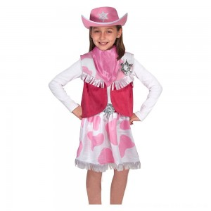 Black Friday 2020 - Melissa & Doug Cowgirl Role Play Costume Set (5pcs) - Skirt, Hat, Vest, Badge, Scarf, Adult Unisex
