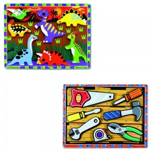 Black Friday 2020 - Melissa & Doug Wooden Chunky Puzzles Set - Tools and Dinosaurs 14pc