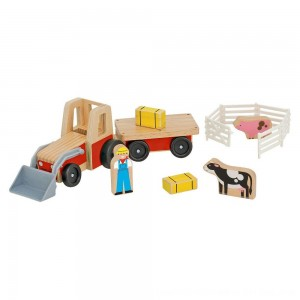 Black Friday 2020 - Melissa & Doug Farm Tractor Wooden Vehicle Play Set (5pc)