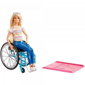 Black Friday 2020 - Barbie Fashionistas Doll #132 Blonde with Rolling Wheelchair and Ramp