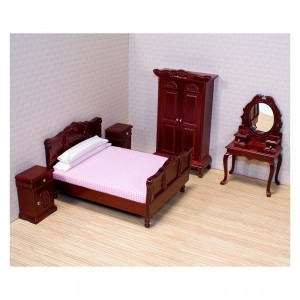 Black Friday 2020 - Melissa & Doug Classic Victorian Wooden and Upholstered Dollhouse Bedroom Furniture 6 pc