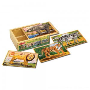 Black Friday 2020 - Melissa & Doug Wild Animals 4-in-1 Wooden Jigsaw Puzzles in a Storage Box (48pc)