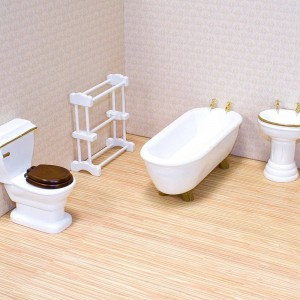 Black Friday 2020 - Melissa & Doug Classic Wooden Dollhouse Bathroom Furniture (4pc) - Tub, Sink, Toilet, Towel Rack
