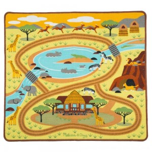 "Black Friday 2020 - Melissa & Doug Round the Savanna Safari Rug Activity Rug (39 X 36"")"