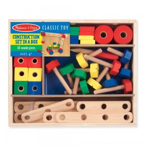 Black Friday 2020 - Melissa & Doug Wooden Construction Building Set in a Box (48pc)