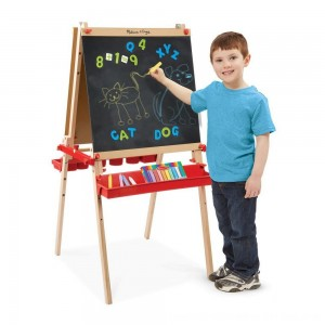 Black Friday 2020 - Melissa & Doug Deluxe Magnetic Standing Art Easel With Chalkboard, Dry-Erase Board, and 39 Letter and Number Magnets