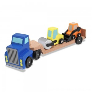 Black Friday 2020 - Melissa & Doug Low Loader Wooden Vehicle Play Set - 1 Truck With 2 Chunky Construction Vehicles