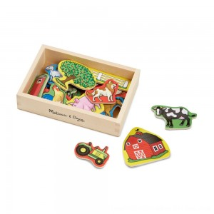 Black Friday 2020 - Melissa & Doug Wooden Farm Magnets with Wooden Tray - 20pc