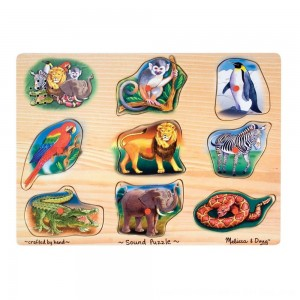Black Friday 2020 - Melissa & Doug Zoo Sound Puzzle - Wooden Peg Puzzle With Sound Effects 8pc