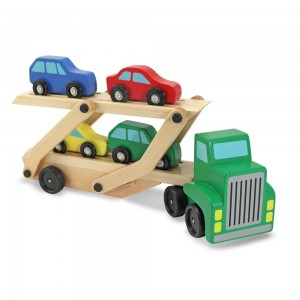 Black Friday 2020 - Melissa & Doug Car Carrier Truck and Cars Wooden Toy Set With 1 Truck and 4 Cars