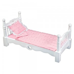 Black Friday 2020 - Melissa & Doug White Wooden Doll Bed With Bedding (24 x 12 x 11 inches)
