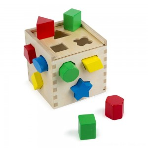 Black Friday 2020 - Melissa & Doug Shape Sorting Cube - Classic Wooden Toy With 12 Shapes