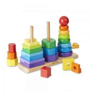Black Friday 2020 - Melissa & Doug Geometric Stacker - Wooden Educational Toy