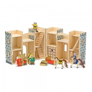 Black Friday 2020 - Melissa & Doug Fold and Go Wooden Castle Dollhouse With Wooden Dolls and Horses (12pc)