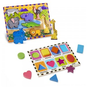 Black Friday 2020 - Melissa & Doug Wooden Chunky Puzzle Set - Wild Safari Animals and Shapes 16pc