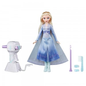 Black Friday 2020 - Disney Frozen 2 Sister Styles Elsa Fashion Doll With Extra-Long Blonde Hair, Braiding Tool and Hair Clips