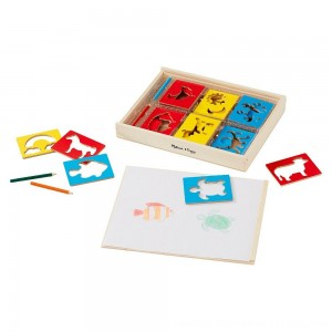 Black Friday 2020 - Melissa & Doug Wooden Stencil Set With 27 Themed Stencils and 4 Pencils