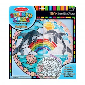 Black Friday 2020 - Melissa & Doug Stained Glass Made Easy Craft Kit: Dolphins - 180+ Stickers