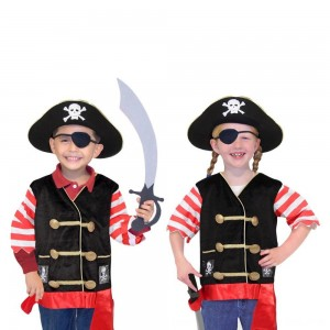 Black Friday 2020 - Melissa & Doug Pirate Role Play Costume Dress-Up Set With Hat, Sword, and Eye Patch, Adult Unisex, Black