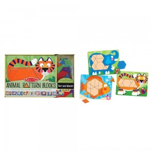 Black Friday 2020 - Melissa & Doug Animal Pattern Blocks Set With 5 Double-Sided Wooden Boards and 47 Multi-Shaped Blocks