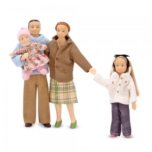 Black Friday 2020 - Melissa & Doug 4-Piece Victorian Vinyl Poseable Doll Family for Dollhouse - 1:12 Scale