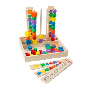 Black Friday 2020 - Melissa & Doug Bead Sequencing Set With 46 Wooden Beads and 5 Double-Sided Pattern Boards