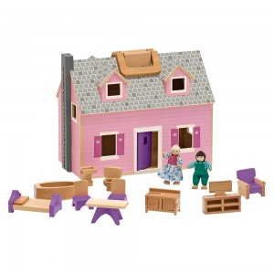 Black Friday 2020 - Melissa & Doug Fold and Go Wooden Dollhouse With 2 Dolls and Wooden Furniture