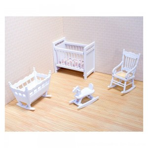 Black Friday 2020 - Melissa & Doug Classic Wooden Dollhouse Nursery Furniture (4pc) - Crib, Basinette, Rocker, Rocking Horse