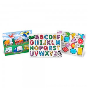 Black Friday 2020 - Melissa & Doug Wooden Peg Puzzles Set - Alphabet, Vehicles, and Shapes 42pc