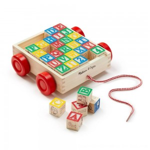 Black Friday 2020 - Melissa & Doug Classic ABC Wooden Block Cart Educational Toy With 30 Solid Wood Blocks