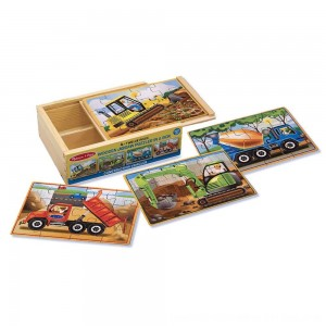 Black Friday 2020 - Melissa & Doug Construction Vehicles 4-in-1 Wooden Jigsaw Puzzles (48pc)