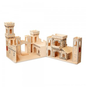 Black Friday 2020 - Melissa & Doug Deluxe Folding Medieval Wooden Castle - Hinged for Compact Storage