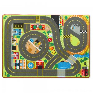 Black Friday 2020 - Melissa & Doug Jumbo Roadway Activity Rug With 4 Wooden Traffic Signs (79 x 58 inches)