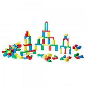 Black Friday 2020 - Melissa & Doug Wooden Building Block Set - 200 Blocks in 4 Colors and 9 Shapes