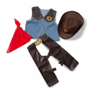 Black Friday 2020 - Melissa & Doug Cowboy Role Play Costume Set (5pc) - Includes Faux Leather Chaps, Adult Unisex, Blue/Gold/Red