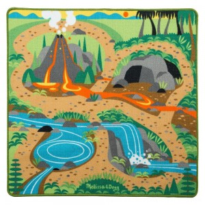"Black Friday 2020 - Melissa & Doug Prehistoric Playground Dinosaur Activity Rug (39 X 36"") - 4 Toy Animals Toy"