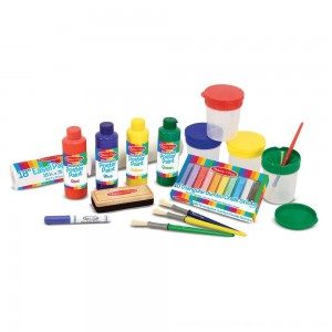 Black Friday 2020 - Melissa & Doug Easel Accessory Set - Paint, Cups, Brushes, Chalk, Paper, Dry-Erase Marker
