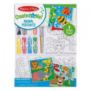 Black Friday 2020 - Melissa & Doug Canvas Painting Set: Animals - 3 Canvases, 8 Tubes of Paint