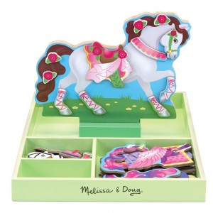 Black Friday 2020 - Melissa & Doug My Horse Clover Wooden Doll and Stand With Magnetic Dress-Up Accessories (60 pc