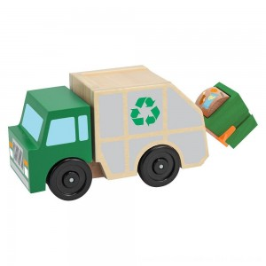 Black Friday 2020 - Melissa & Doug Garbage Truck Wooden Vehicle Toy (3pc)