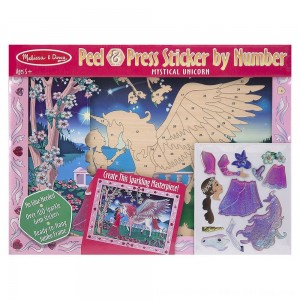 Black Friday 2020 - Melissa & Doug Peel and Press Sticker by Number Kit: Mystical Unicorn - 100+ Stickers, Jumbo Frame