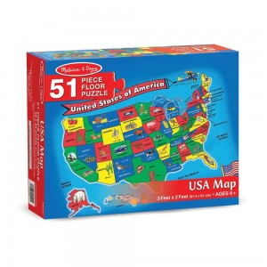 Black Friday 2020 - Melissa And Doug Usa Map Floor Puzzle 51pc