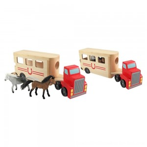 Black Friday 2020 - Melissa & Doug Horse Carrier Wooden Vehicle Play Set With 2 Flocked Horses and Pull-Down Ramp